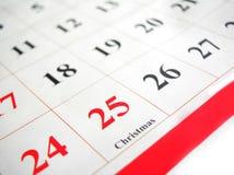 Kalendarzowy wskazujący święto bożęgo narodzenia Obrazy Royalty Free