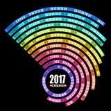 2017 kalendarzy ślimakowaty szablon odizolowywający na czarnym tle Obrazy Stock
