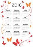 2018 kalendarzy karta Zdjęcia Stock