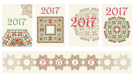 2017 kalendarzy pokrywa z etnicznym round ornamentu wzorem w czerwonych i zielonych kolorach royalty ilustracja