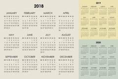 Kalender 2018, 2019, 2020 år Arkivbild
