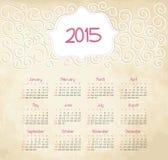 Kalender 2015 år Arkivbilder
