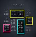Kalender 2015 år Royaltyfri Bild