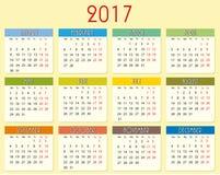 Kalender 2017 år royaltyfri illustrationer