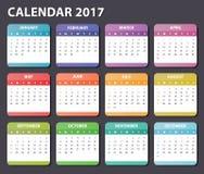 Kalender 2017 år Arkivfoto