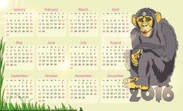 Kalender 2016 år av apan royaltyfri illustrationer
