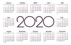 Kalender 2020 år Enkel vektormall vektor illustrationer