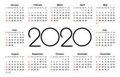 Kalender 2020 år Enkel vektormall Brevpapperdesignmall Kalenderdesign i svartvita färger, ferier i rött royaltyfri illustrationer