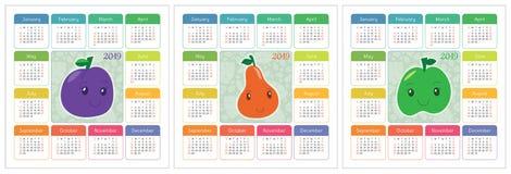 Kalender 2019 år Färgrik engelskauppsättning Le frukter, berrie stock illustrationer