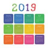 Kalender 2019 år Färgrik fackfyrkantkalender Krita penc vektor illustrationer
