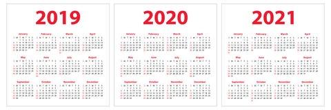 Kalender 2019, 2020, 2021 år Färgrik uppsättning Veckastarter på Su vektor illustrationer