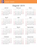Kalender 2019 år för det Island landet vektor illustrationer