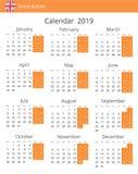Kalender 2019 år för det Storbritannien landet vektor illustrationer