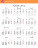 Kalender 2019 år för det Turkiet landet vektor illustrationer