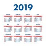 Kalender 2019 år Fick- fyrkantig kalender Ordna till designen Röd royaltyfri illustrationer