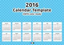 Kalender 2016 år mall Royaltyfria Bilder