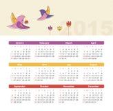 Kalender 2015 år med fåglar Royaltyfri Fotografi