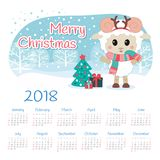 Kalender 2018 år med får stock illustrationer