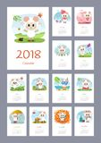 Kalender 2018 år med får stock illustrationer