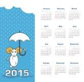 Kalender 2015 år med får Royaltyfria Foton