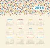 Kalender 2015 år med glass Arkivfoto