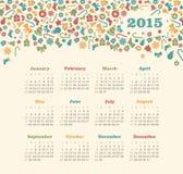 Kalender 2015 år med julmodellen Arkivbilder
