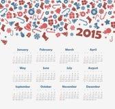 Kalender 2015 år med julmodellen Royaltyfri Bild