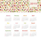 Kalender 2015 år med kulör glass Royaltyfri Fotografi