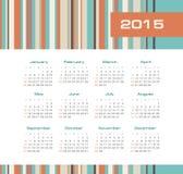 Kalender 2015 år med kulöra band Arkivbild