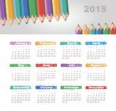 Kalender 2015 år med kulöra blyertspennor Fotografering för Bildbyråer
