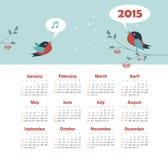 Kalender 2015 år med sjungande fåglar Royaltyfria Foton