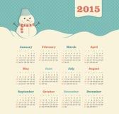 Kalender 2015 år med snögubben Royaltyfria Foton