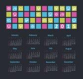 Kalender 2015 år med vädersymboler Royaltyfria Foton