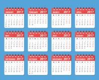 Kalender 2017 år, starter på måndag Arkivbilder
