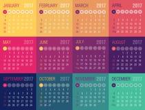 Kalender 2017 år Veckan startar från söndag stock illustrationer