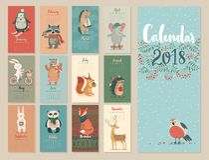 Kalender 2018 royaltyfri illustrationer