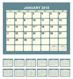 Kalender 2018 stock illustrationer