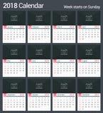 kalender 2018 vektor illustrationer