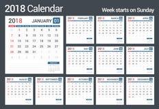 kalender 2018 stock illustrationer