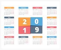 Kalender 2019 Lizenzfreie Stockfotografie