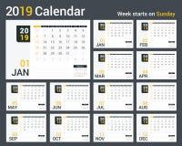kalender 2019 vektor illustrationer