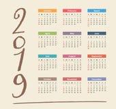 Kalender 2019 stock abbildung