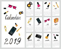 Kalender 2019  vector illustratie