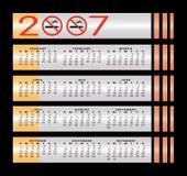 kalender 2007 ingen teckenrökning Fotografering för Bildbyråer
