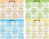 Kalender 2009, 2010, 2011, 2012 Royalty-vrije Stock Fotografie