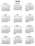 Kalender 2009 stock illustratie