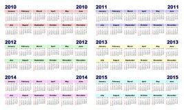 kalender 2010 2015 stock illustrationer