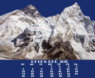 Kalender 2010. December. Everest en Nupse Royalty-vrije Stock Afbeelding