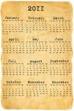 Kalender 2011 op het oude document Stock Afbeeldingen
