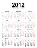Kalender 2012 Royalty-vrije Stock Afbeelding
